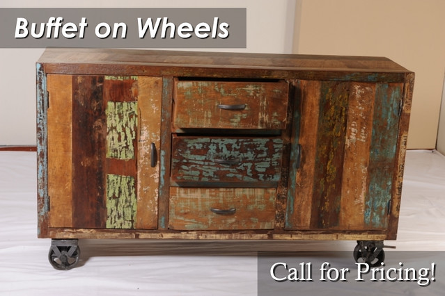ANI3175 Reclaimed Buffet on Wheels