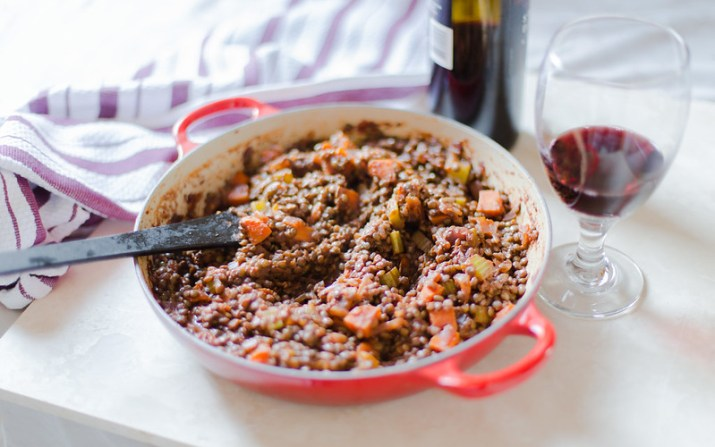 Wine Glazed Lentils and Vegetables