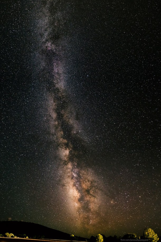The Milky Way stretching out over McDonald Observatory
