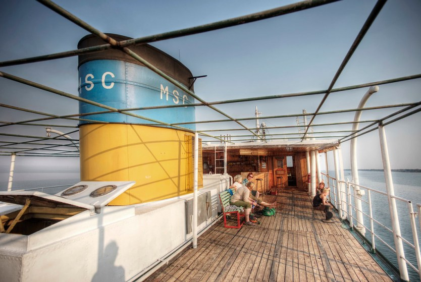The top deck of the Ilala ferry.