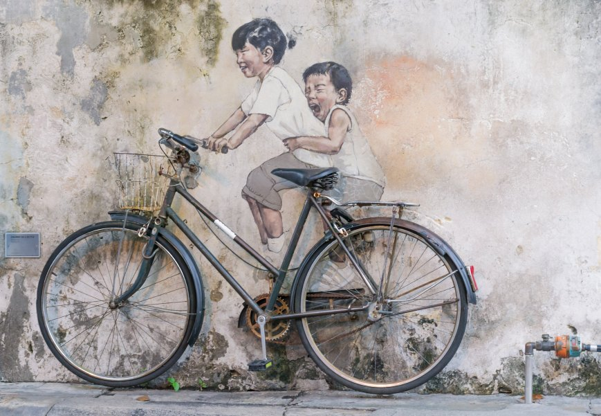 Kids on a bicycle, Armenian Street, George Town, Penang