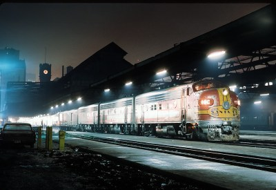 ATSF 16C a F3A with Train #9, The Kansas City Chief at Dearborn Staation, Chicago, Ilinois on February 5, 1968