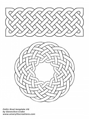 Celtic knot template 6 - coloring and shading worksheet