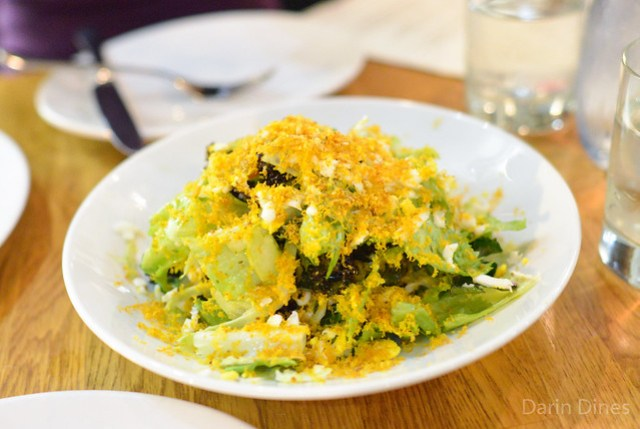 Smoked Sea Urchin Bottarga & Chicory Salad. golden raisins. sieved egg. pickled chilies. oregano.