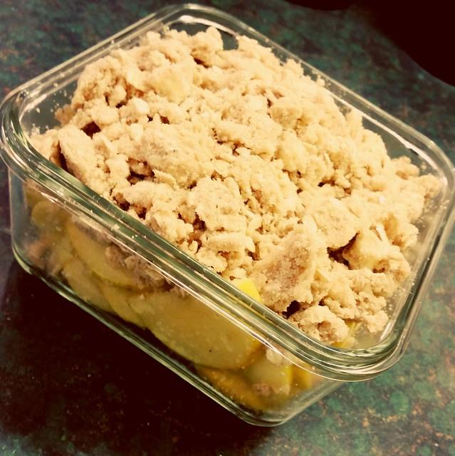 Apple crisp ready for the oven