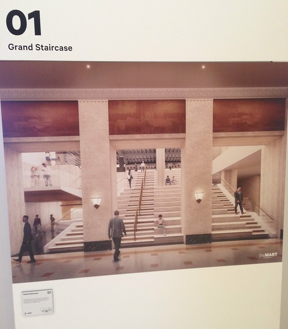 Rendering of new main (south) lobby staircase at the Merchandise Mart