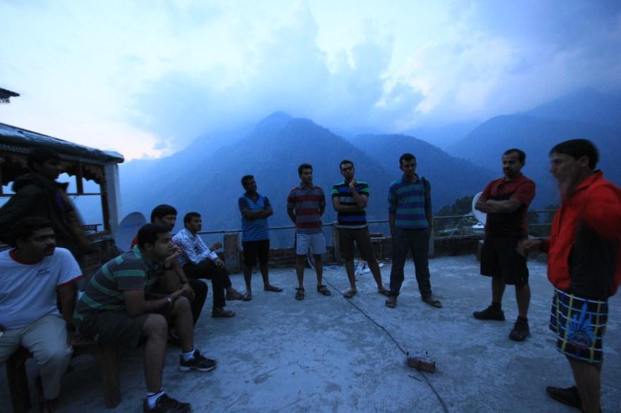 Briefing by our Har Ki Dun trek guide Chain Singh