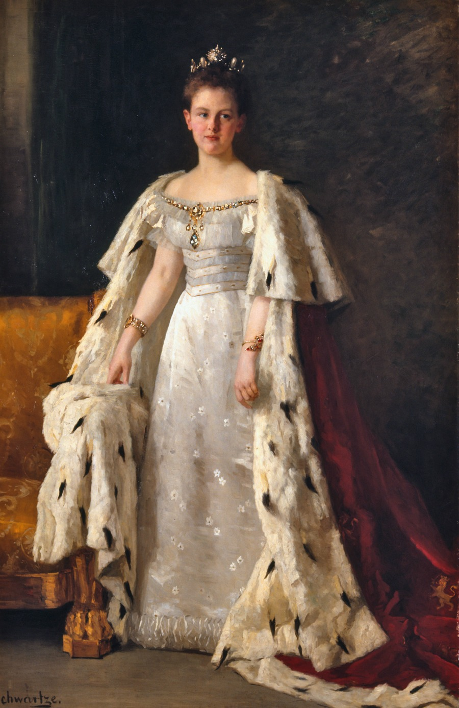 Queen Wilhelmina wearing her coronation robe by Thérèse Schwartze, 1898