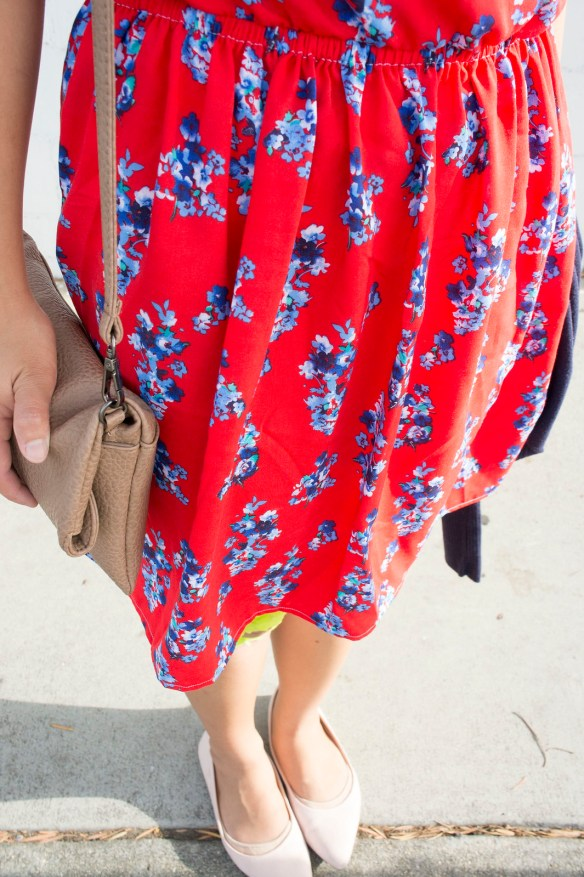 DIY Red Kimono Sleeve Dress