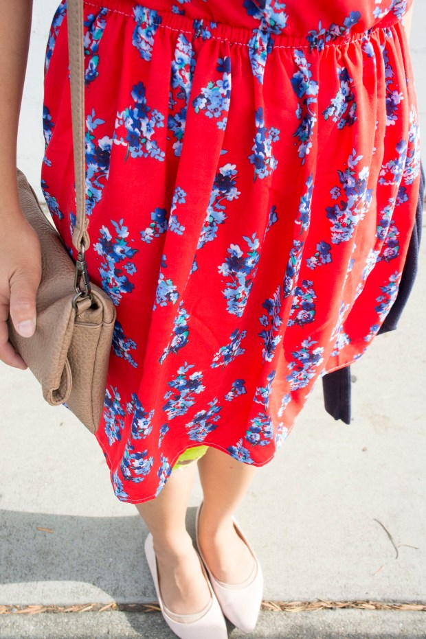 DIY Red Kimono Sleeve Dress