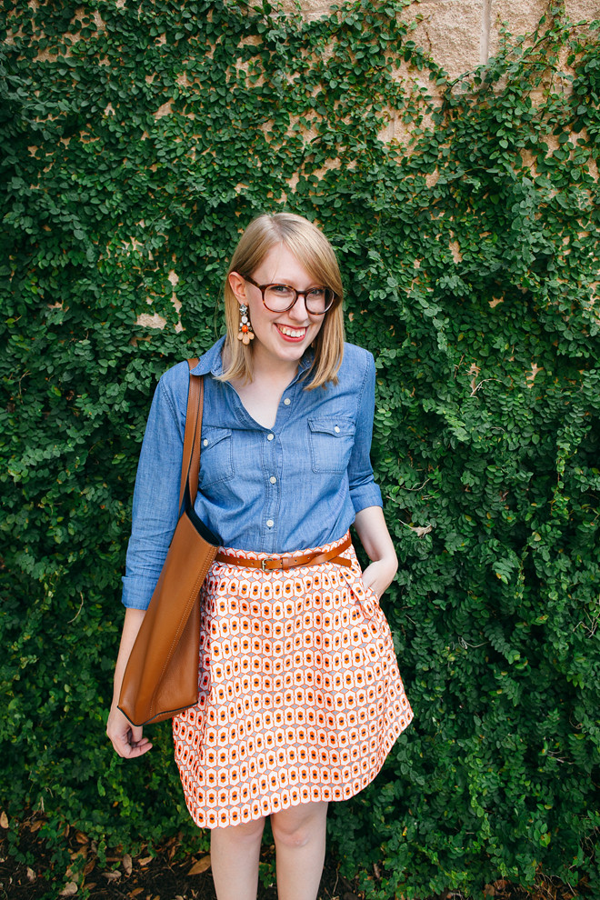 geo print skirt chambray shirt4