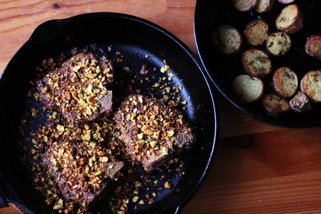 Pistachio Masala Lamb Chops with Rosemary Roasted Potatoes