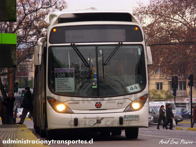 Transantiago - Inversiones Alsacia - Marcopolo Gran Viale / Volvo (BJFD36)