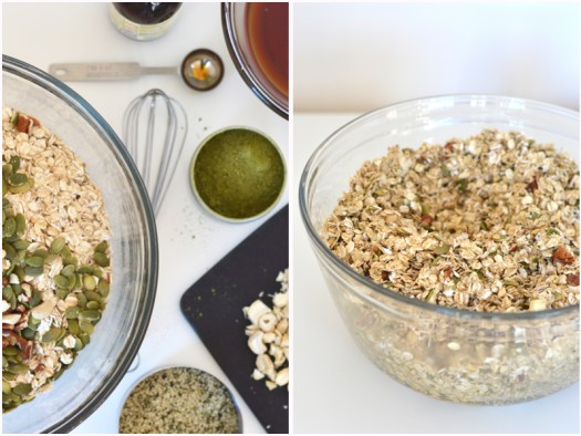 Split screen, photo one: Ingredients for matcha granola (bowl with oats and nuts, small bowl with maple syrup and melted coconut oil, chopped cashews on cutting board, tin with matcha powder, measuring cup with hemp seeds. Photo two: (large bowl with all ingredients mixed together)
