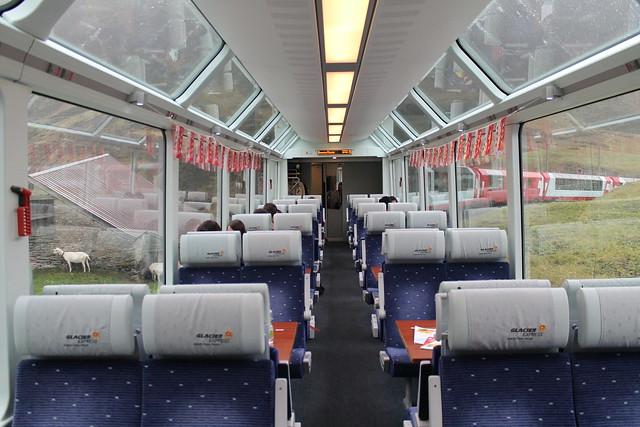 IInside Glacier Express to St Moritz Switzerland
