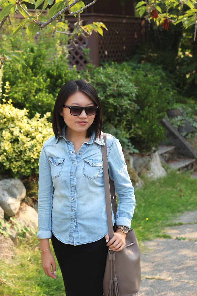 chambray shirt outfit ideas