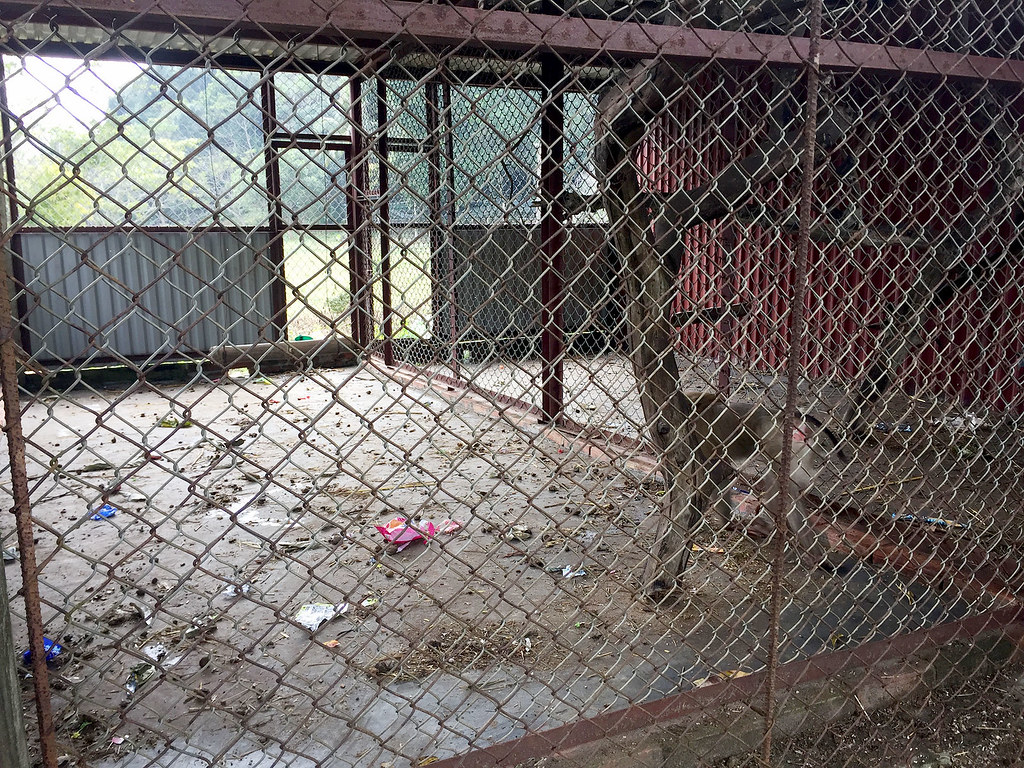 A sad set of monkey cages in Cat Ba National Park.
