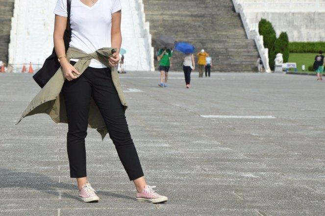 white t-shirt, black ankle pants, pink converse, zara green military parka