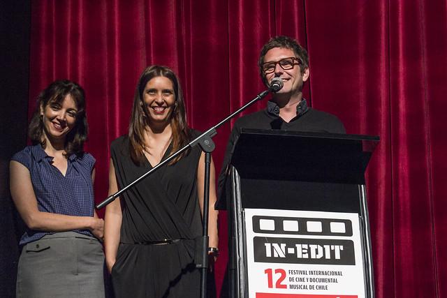 Marisol García (directora de prensa), Javiera Undurraga (directora festival) y Uri Altell (co-fundador de IN-EDIT Barcelona)