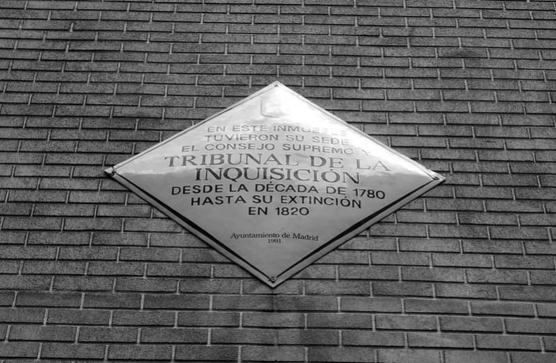 Placa de la fachada, Tribunal de la Inquisición