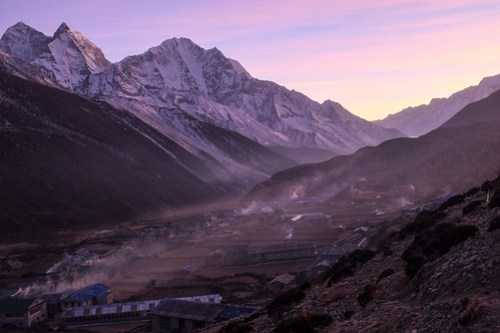 Smoke from yak dung stoves. Dingboche