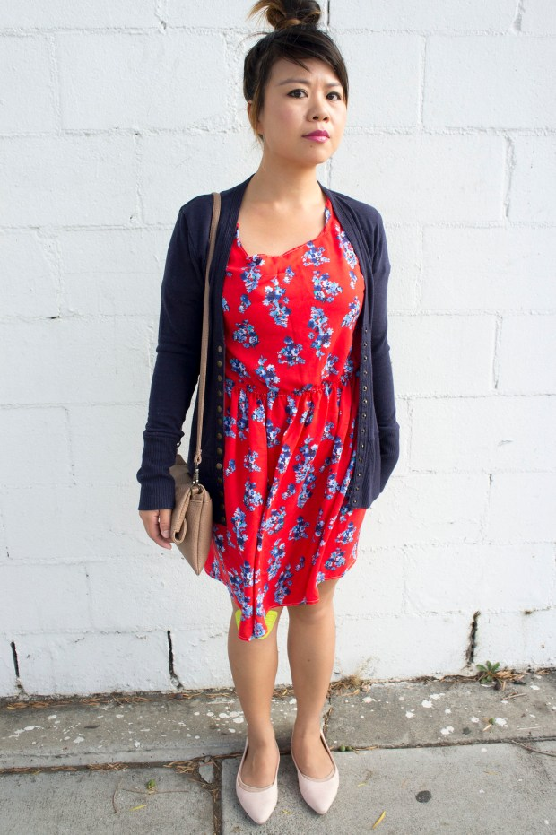Red Dress DIY and Blue Cardigan