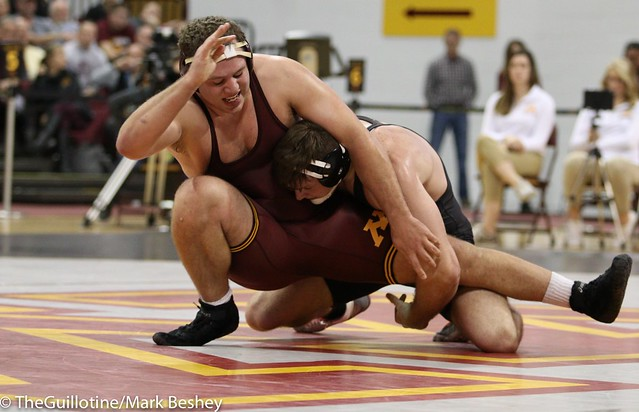 Hwt Austin Schafer (Oklahoma State) dec. #5 Michael Kroells (Minnesota) 3-2