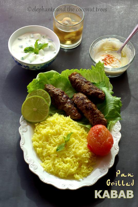 pan grilled kabab, beef kabab