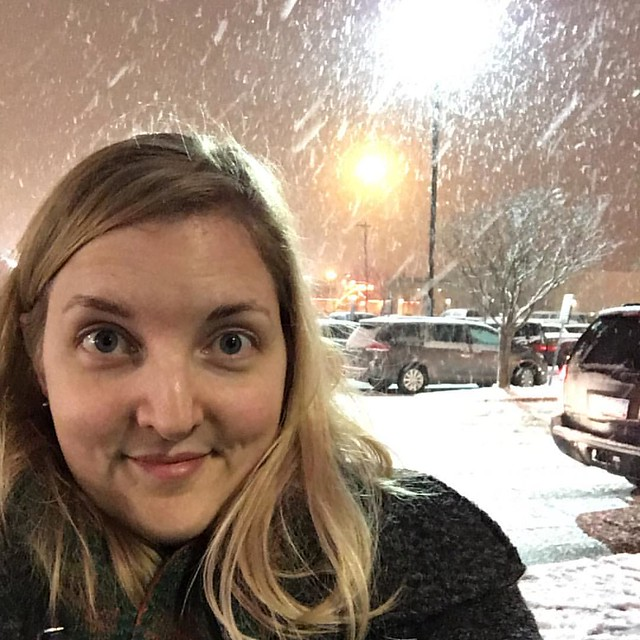 Selfie in the magical, fluffy snowfall after Star Wars. Would be more magical if we were getting snowed in at home, though.