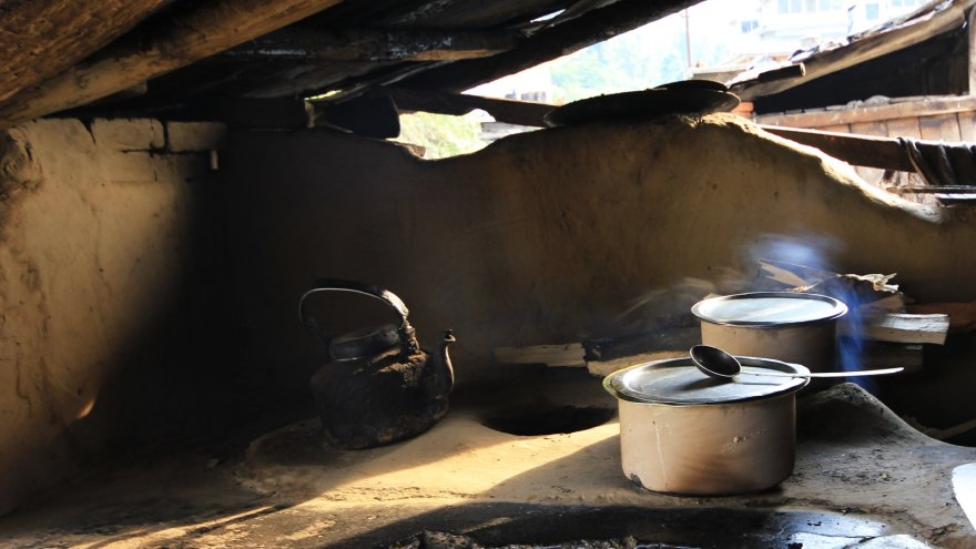Open kitchen of a small eatery in Sankri