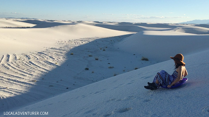 Sand Sledding at White Sands National Monument New Mexico USA - one of the world's greatest natural wonders located an hour outside Las Cruces.
