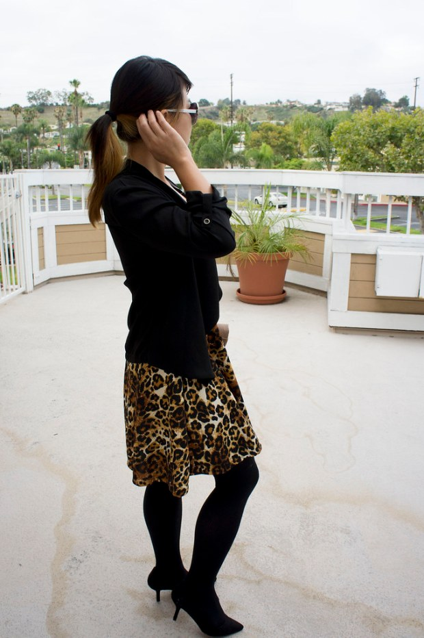 Asian in Fit and Flare Leopard Dress
