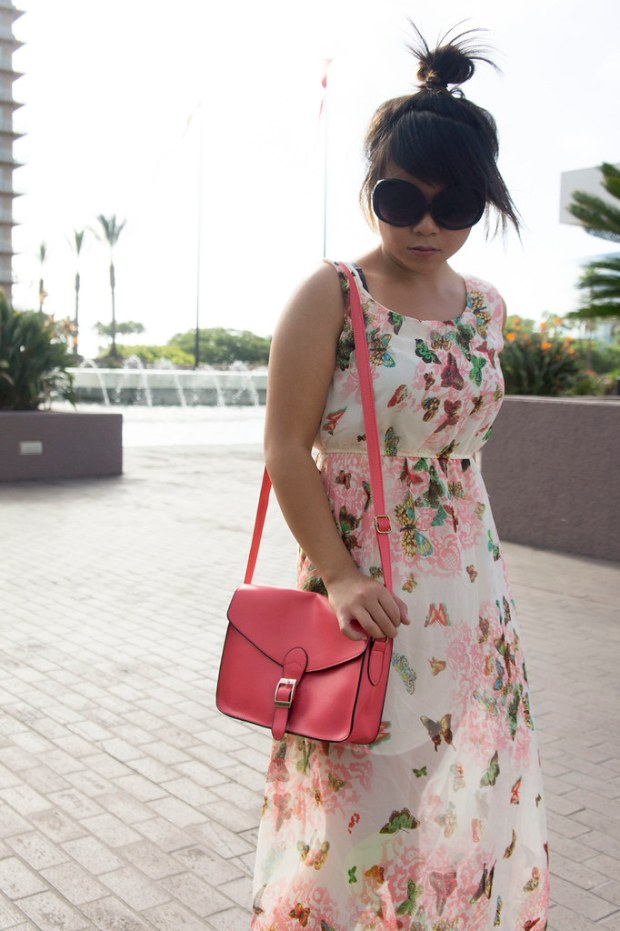 Floral Maxi Dress and Watermelon Bag from DressLink