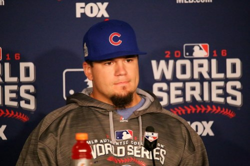 Cubs slugger Kyle Schwarber meets the media before #WorldSeries Game 1.