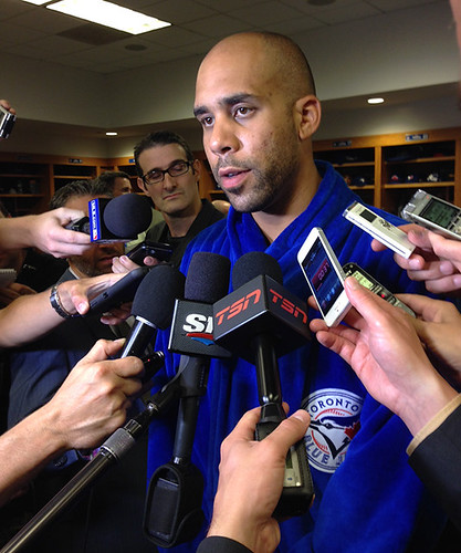 David Price meets the media in his new Blue Jays robe. He bought one for each teammate too.