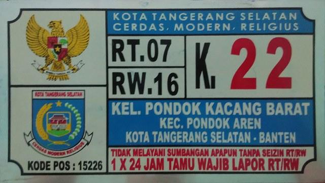 Plat Nomor Rumah Banten