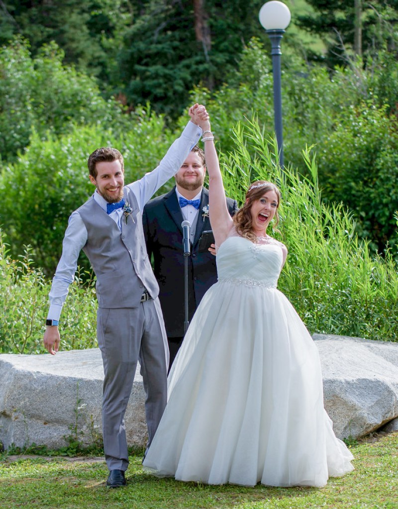 Mountain weekend wedding with video game cake from @offbeatbride