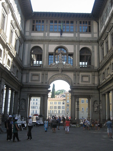 The imposing Uffizi Gallery, with the river Arno in the background