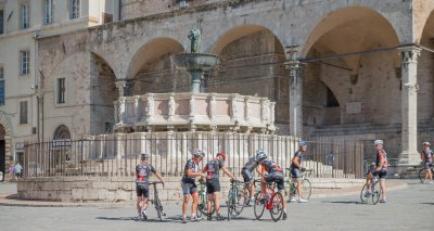 Cycling group stops in Perugia Italy