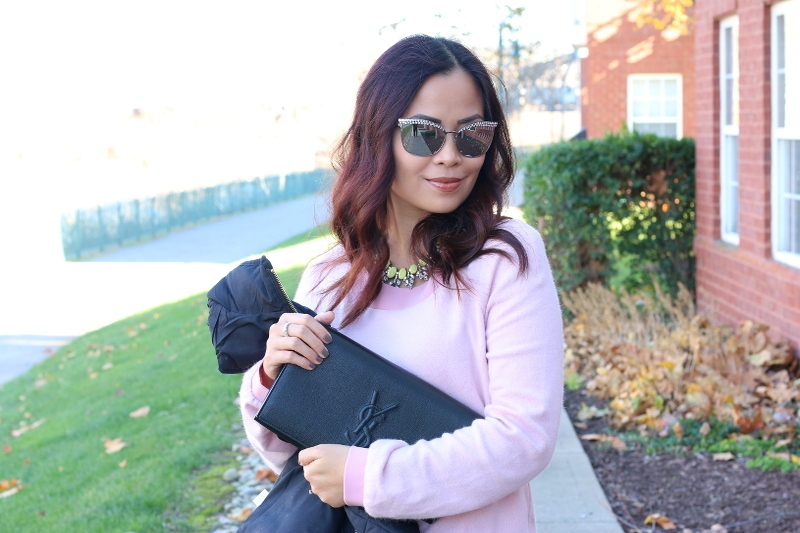rhinestone sunglasses, pink dress, ysl clutch
