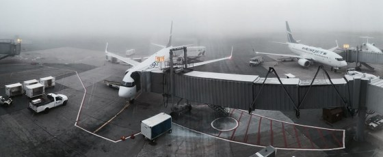 Stanfield International Airport. Foggy morning flight out of Halifax.