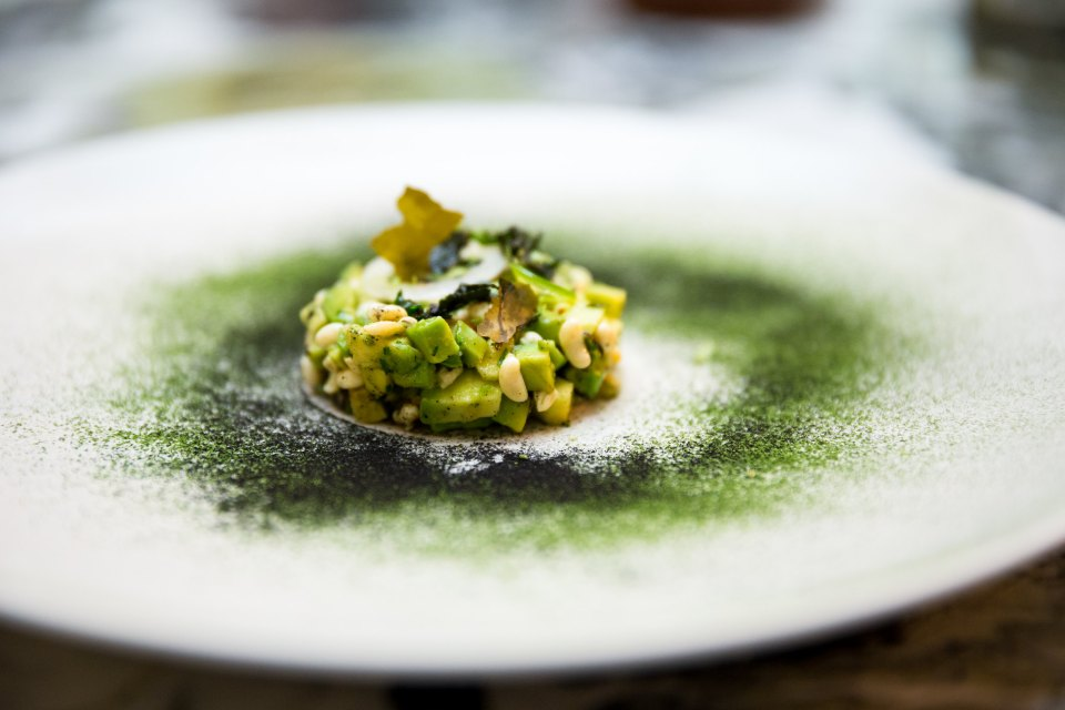 Avocado tartare with escamoles at Quintonil, Mexico City