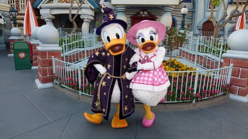 Sorcerer Donald and Western Daisy at Disneyland Halloween Party