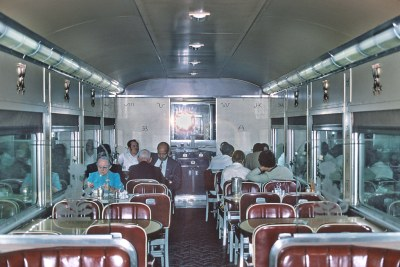 """Taken by Roger Puta on SP Train 12 the Cascade, the Diner Lounge, ex-Sunset """"Pride of Texas Coffee Shop"""" later used on the Lark."""