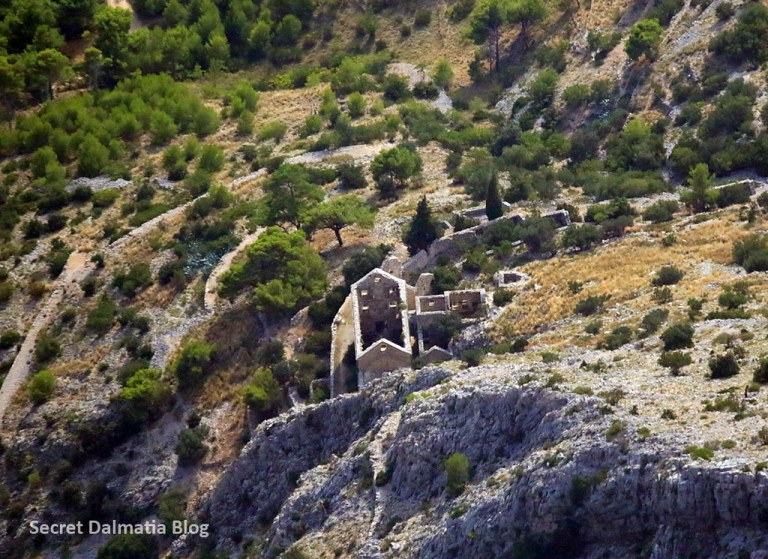 Abandoned monastery in the hillside of Brac