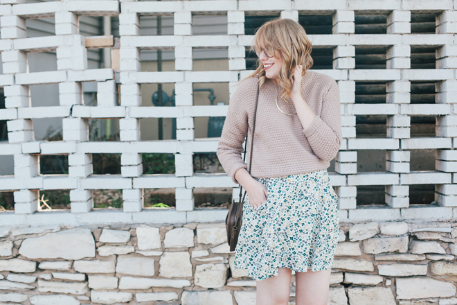 oatmeal sweater floral skirt4