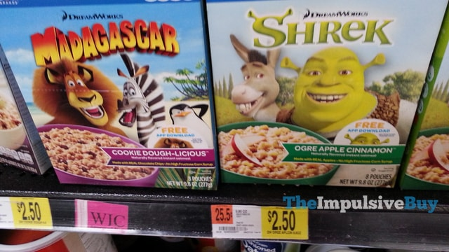 DreamWorks Madagascar Cookie Dough-licious Instant Oatmeal and Shrek Orge Apple Cinnamon Instant Oatmeal