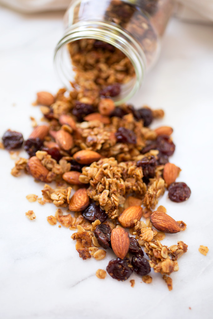Cherry Almond Granola on marble board