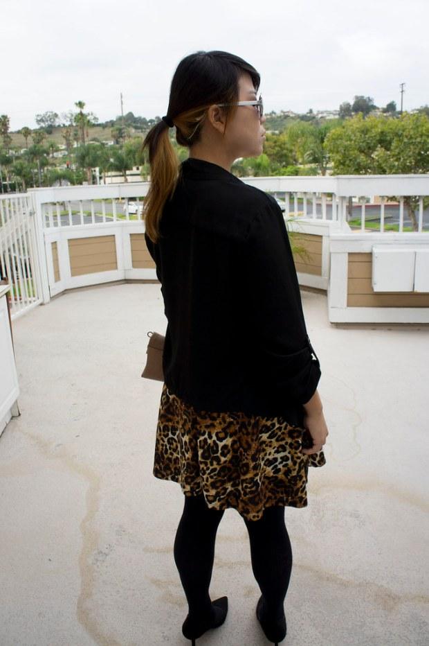 Leopard Print Dress with Black Blazer