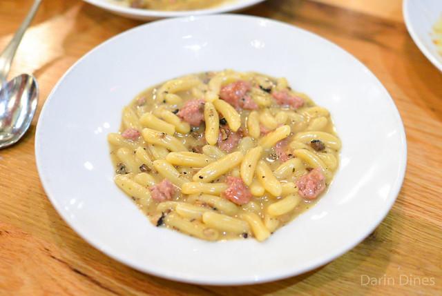 Cavatelli alla Norcina. ricotta dumplings, housemade pork sausage, black truffles, grana padano